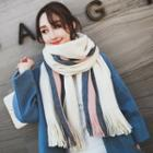 Fringed Color Block Knit Scarf