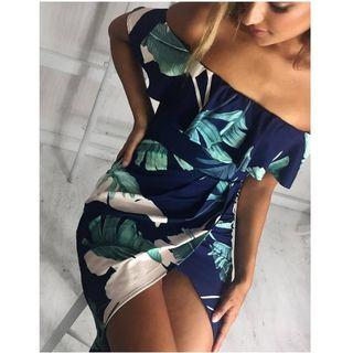 Leaf Print Off-shoulder Sheath Dress