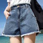 Frayed Edge Wide Leg Denim Shorts