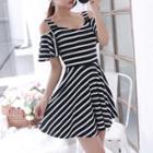 Ruffled Cutout A-line Dress