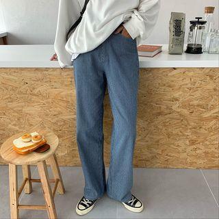 Pinstriped High-waist Wide-leg Pants