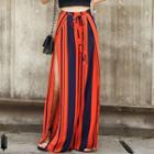 Slit Striped Wide Leg Pants
