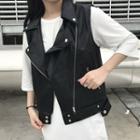 Sleeveless Faux-leather Biker Jacket