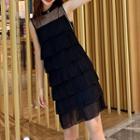 Sleeveless A-line Mini Tiered Dress