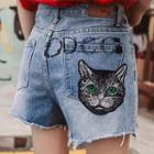 Ripped Cat Embroidered Denim Shorts