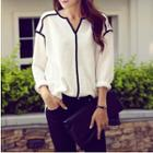 Piped Blouse White - One Size