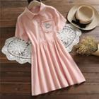 Short-sleeve Kitten Embroidered A-line Dress