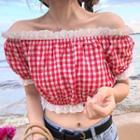 Lace Trim Short-sleeve Off-shoulder Plaid Top