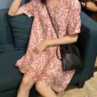 Bow-back Floral Print Short-sleeve Dress