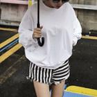 Fray Hem Striped Shorts
