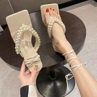 Faux Pearl Block Heel Flip-flops