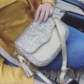 Tassel Glitter Panel Flap Cross Bag