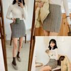Slit-hem Herringbone Miniskirt