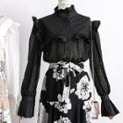 Sheer Chiffon-panel Ruffled Blouse