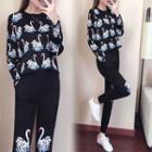 Set: Swan Print Sweater + Swan Print Knit Harem Pants