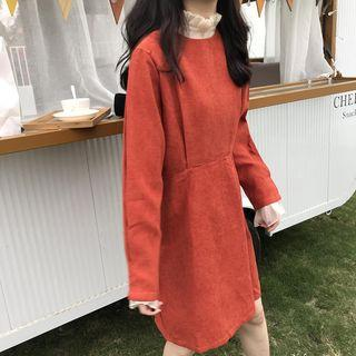 Long-sleeve Corduroy Dress Red - One Size