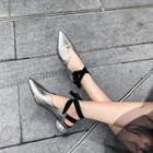 Genuine Leather Pointed Toe Ankle Strap Sandals