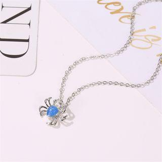 Crab Pendant Necklace 7539 - 01 - White - One Size
