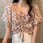 Drawstring Floral Print Short-sleeve Cropped Blouse