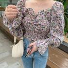 Long-sleeve Floral Print Shirred Crop Top