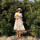Crochet-trim A-line Dress Cream - One Size