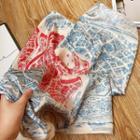 Printed Scarf Blue & Red - One Size