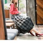 Gradient Plaid A-line Skirt