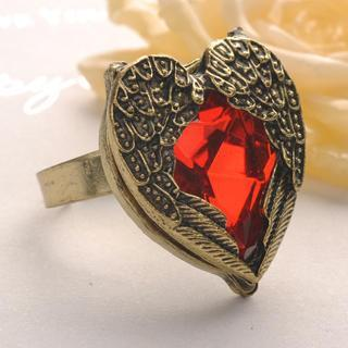 Red Diamond Wing Ring - Copper Copper - One Size