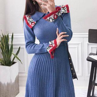 Collard Long-sleeve Knitted A-line Dress Blue - One Size