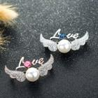 Wings Faux-pearl Rhinestone Brooch