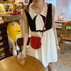 Sleeveless / Elbow-sleeve Color Block A-line Dress