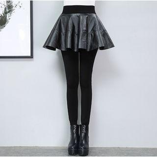 Leggings Inset Faux Leather A-line Skirt