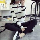 Long-sleeve Striped Cutout Knit Top