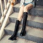 Faux Leather Lace-up Tall Boots