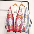 Pattern V-neck Oversized Cardigan