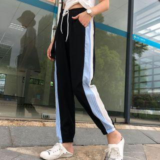 Striped Drawstring Cropped Harem Pants
