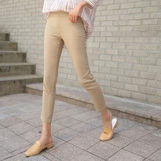 Linen Blend Cropped Leggings Pants