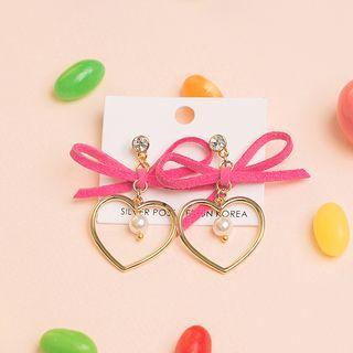 Ribbon Heart Dangle Earrings