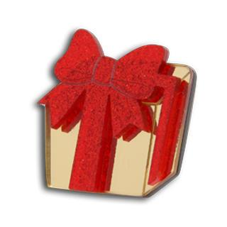 Sweet Red Glitter Present Gold Ring