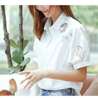 Embroidered Cutout Short-sleeve Shirt