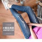 Slit Front Distressed Slim-fit Jeans