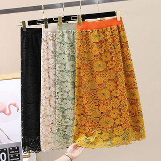 Flower Lace Midi Pencil Skirt