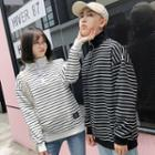 Couple Matching Mock Turtleneck Striped Pullover