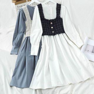 Plain Long-sleeve Dress / Tweed Camisole Top