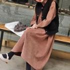 Corduroy Midi Collared Dress