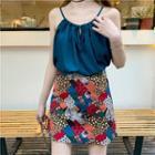 Plain Camisole / Patterned Skirt