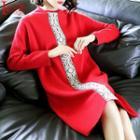 Mock-neck Embroidered Long-sleeve Knit Dress