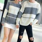 Couple Matching Striped Chunky Knit Sweater