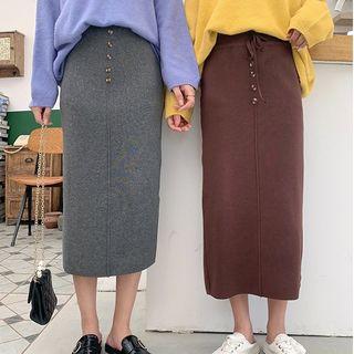 Buttoned Plain Knit Midi Skirt
