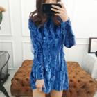 Mock-neck Lace Textured Velvet Mini Dress